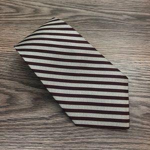 Lauren Ralph Lauren Maroon & Silver Stripe Tie